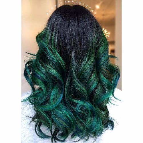 Emerald Green Balayage Green Hair Ombre Dark Green Hair Hair Styles