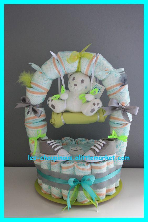Cadeau naissance bapt me g teau de couches balan oire d coration pour enfants cadeaux - Couche naissance pampers ...