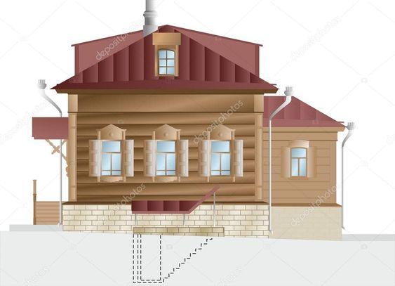 Wooden House Vector Illustration Wooden Building House Retoran City Village House Vector Wooden Buildings House