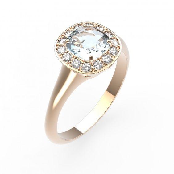 Bague en or rose 18 cts, aigue-marine et diamants - Bague MADA - Maison Gemmyo Jeune et Joaillier
