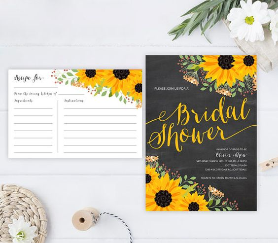 Chalkboard bridal shower invitations + recipe cards | Country, barn, rustic wedding shower invitations | Sunflower invitations printed