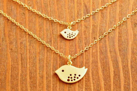 Mother and Daughter Necklace  double necklace gold by MegusAttic, 50.00
