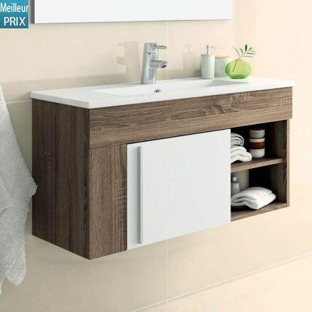 mobilier sous vasque suspendu pour salle de bain plan vasque en porcelaine meuble quip - Une Salle De Bain Est Equipee Dune Vasque