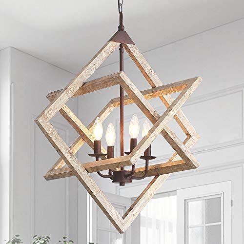 Wood And Metal Chandelier Ceiling Pendant Light 4 Candle Holder Lights Vintage Industrial Rus In 2020 Metal Chandelier Ceiling Pendant Lights Wood And Metal Chandelier