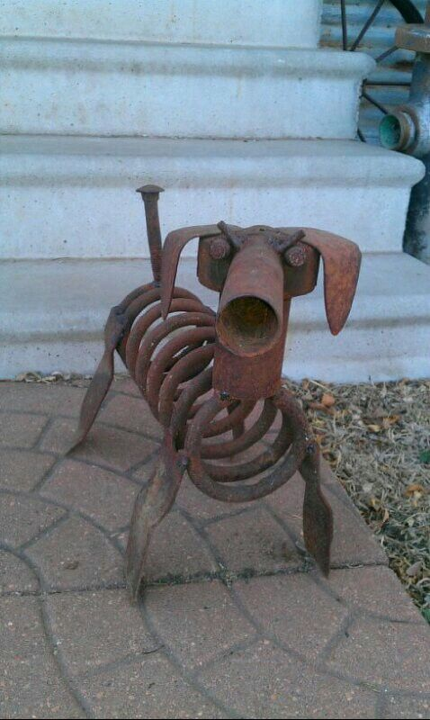 Metal art scrap metal art and scrap on pinterest for Dog wire art
