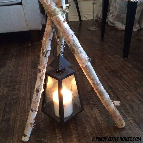 Birch Branch Tripod Lantern: