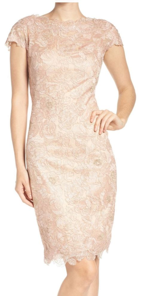 Gorgeous embroidered mesh sheath dress