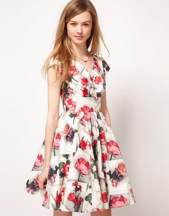 Ted Baker pretty rose pattern dress.