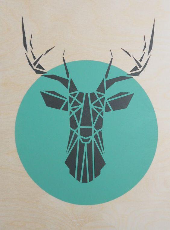 Großer Hirsch Kopf auf Sperrholz handgemachte von Stencilize