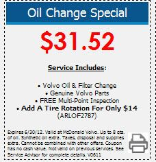 volvo oil change coupon.  visit mcdonaldvolvo.com to make your Volvo Service appointment in the Denver area