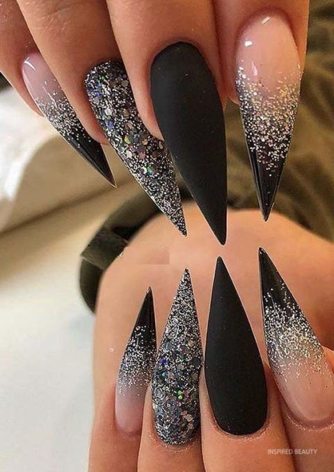20 Best Acrylic Nail Designs 2020 Inspired Beauty In 2020 Black Acrylic Nail Designs Modern Nails Gold Nails