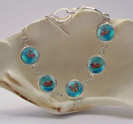 Butterfly Art Bracelet 1/2 inch Diameter Image Nickel Free Silver Plated 7-9 141347b