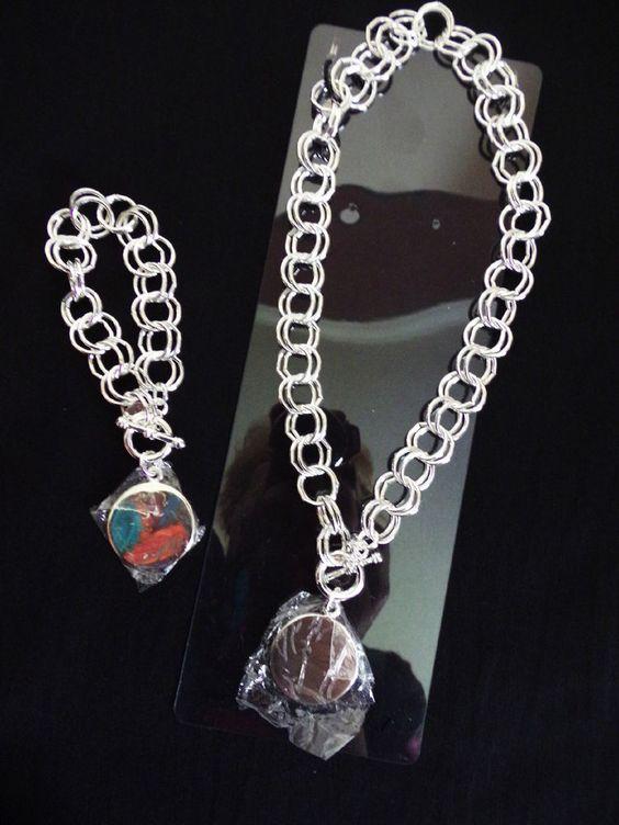Toggle Necklace Bracelet Set Engravable Round Tag Silver Tone  #Best #ToggleNecklaceBracelet