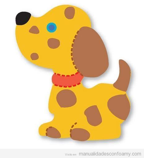Plantilla o molde con forma de perro para manualidades - Apliques infantiles de pared ...