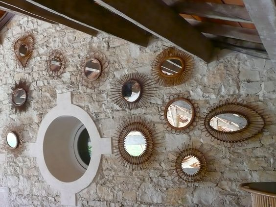 le retour du rotin #vintage #rétro #rotin #rattan #miroir #mirror #mur de miroirs rotin #lucinevintage.com: