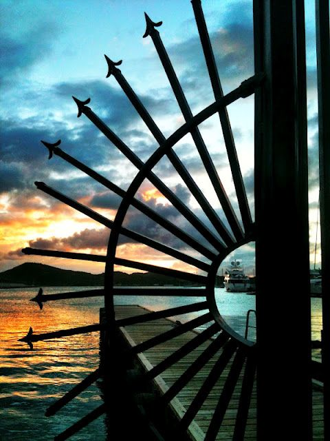Such a fun shot through the security spears at Yacht Haven Grande, St. Thomas, USVI