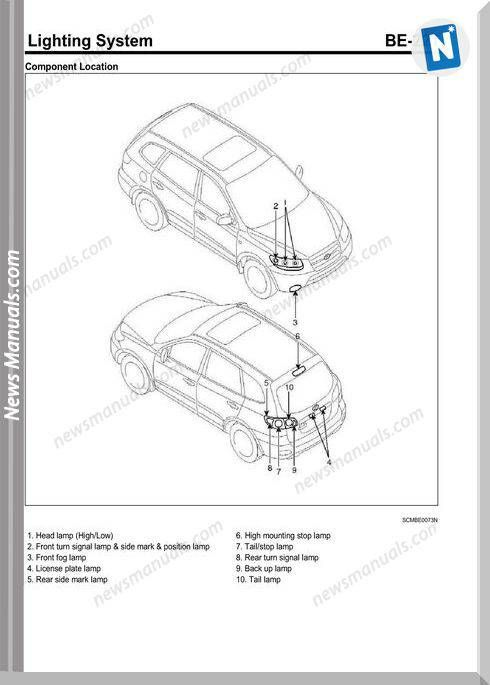 Hyundai Santafe 2010 Lighting System Wiring Diagram Hyundai Santa Fe Hyundai Lighting System