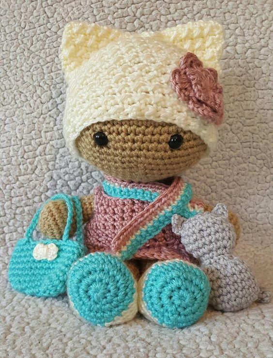 Crochet Amigurumi Doll Head : Crochet Kitty Big Head Doll SnugglyFoxDesigns ...