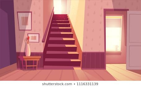 Vector interior with staircase and white open door in living room Home inside with light from wind Anime background Anime backgrounds wallpapers Anime scenery