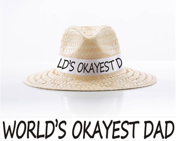 World's Okayest Dad straw hat-Gift for daddy-Gift for dad-Dad-Father's Day gift-Birthday for dad-Present for dad-Gift ideas-Birthday gift