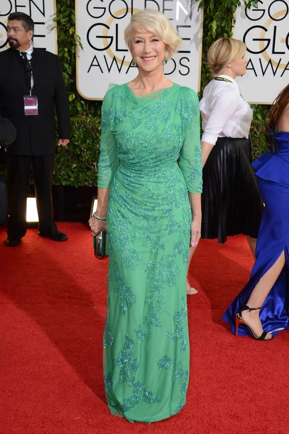 Helen Mirren wearing a Jenny Packham gown at event of The Golden Globes 2014