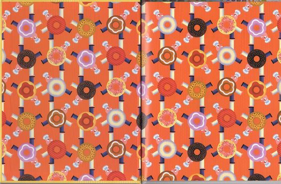 """The endpapers from Bob Staake's """"The Donut Chef."""" Fun graphics, cute story."""