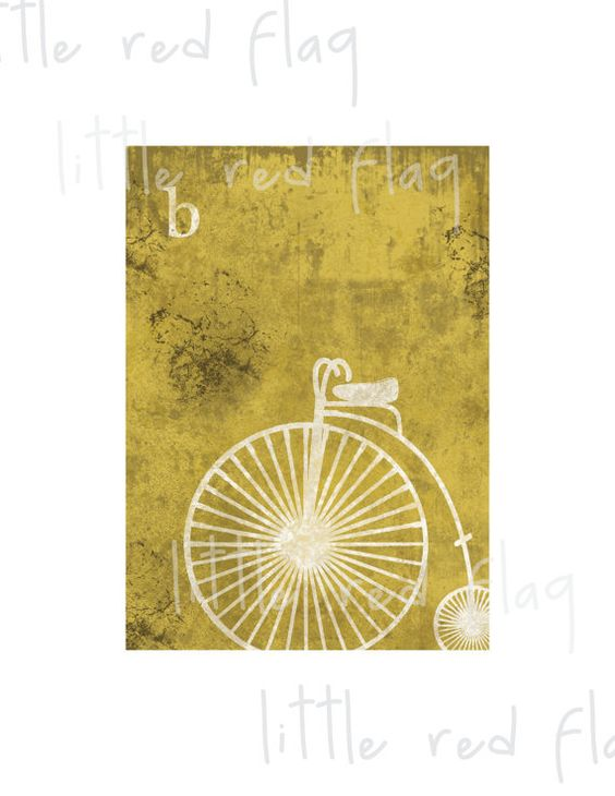 Distressed Vintage Transportation Bicycle Print Wall Decor - Childs ...