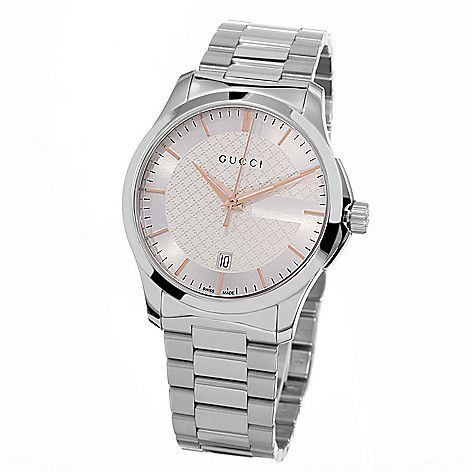 633-487- Gucci Women's Timeless Quartz Date Stainless Steel Bracelet Watch