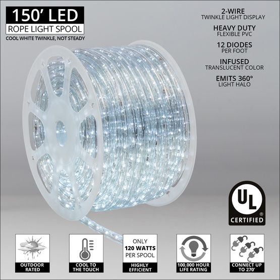 Led Rope Lights 150 Cool White Twinkle Led Rope Light Commercial Spool 120 Volt Christmas Lights Etc In 2020 Rope Light Led Rope Led Rope Lights