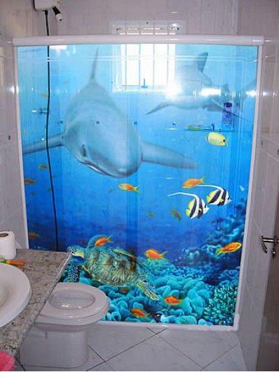 ADESIVO PARA BOX DE BANHEIRO TUBARÕES  ÐƗᑕᗩᔕ & ᑌᒪƬƗᒪƗÐᗩÐᕮᔕ  Pinterest  -> Banheiro Pequeno Adesivo