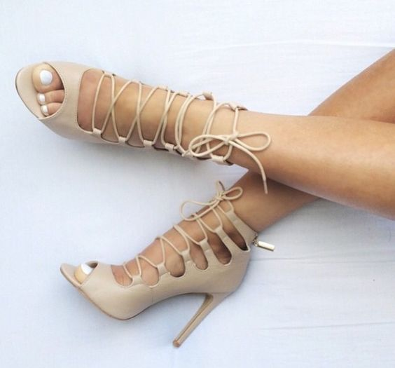 Public Desire Nude Strappy Lace Up Gladiator High Heel Sandals