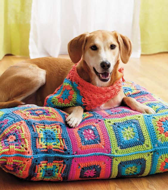 Free Crochet Pattern For Dog Bandana : Lily Dog Bed and Bandana, or simply FREE granny square PDF ...