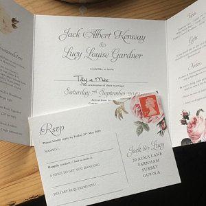 Madeira Luxury Folding Wedding Invitations With Tear Off Etsy Folded Wedding Invitation Wedding Invitations Green Wedding Invitations