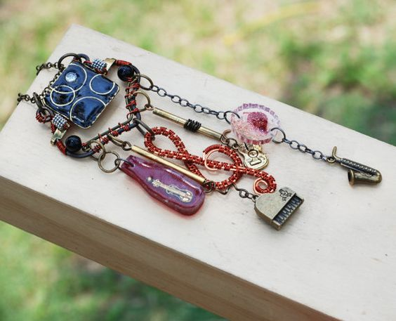 Funky Asseamblage Musical Charm Pendant Wire by jeanninehandmade
