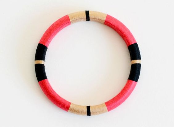 Hot Pink Thread Bangle Bracelet with Stripes