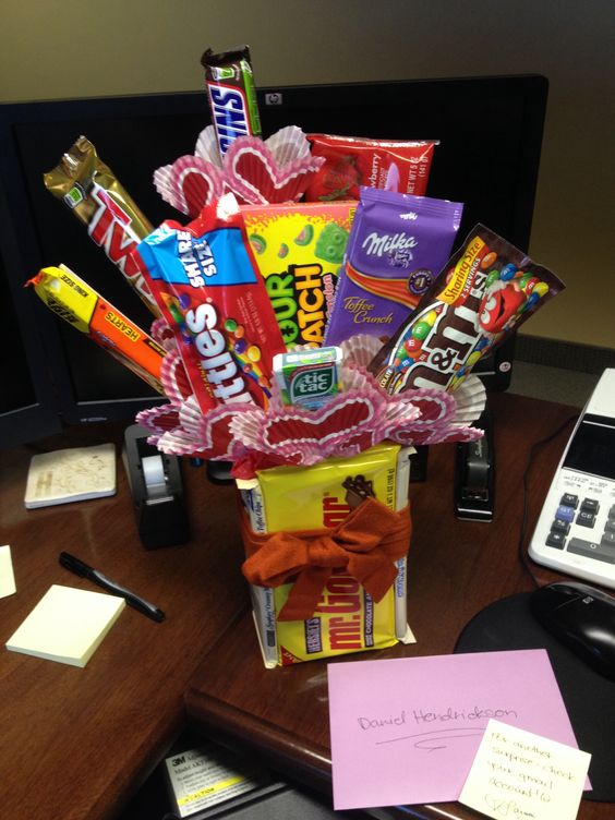 Candy bouquet for my 2014 Valentine. :) It was ridiculously easy. Click to see the tutorial I used!: