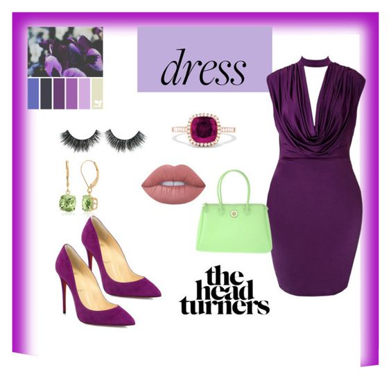 """Looking Plum Today #chockerdress"" by akalwa on Polyvore featuring Christian Louboutin, Effy Jewelry, PIERO GUIDI, Lime Crime and Belk & Co."