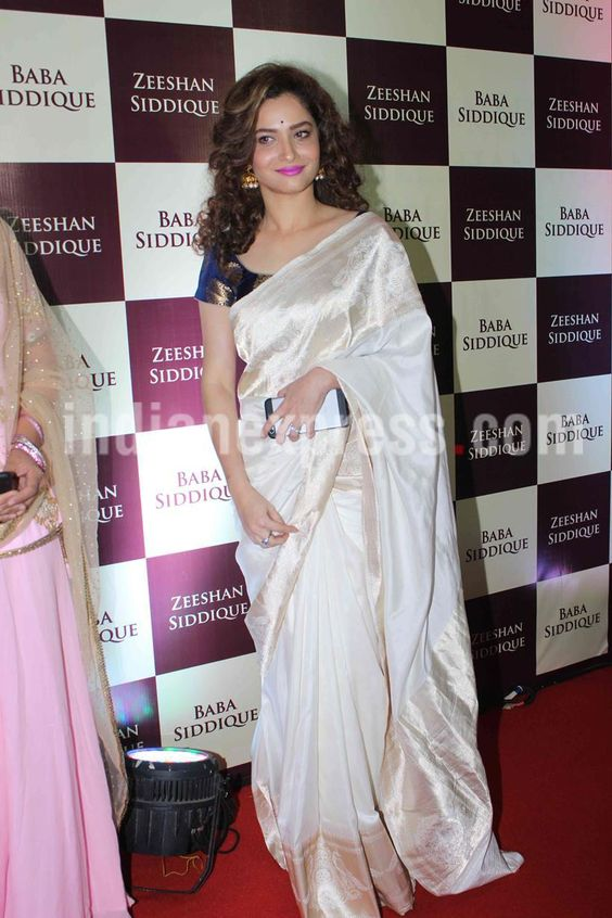 Ankita Lokhande at Baba Siddique's iftar party. #Bollywood #Fashion #Style #Beauty #Hot #Desi #Saree