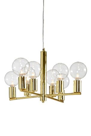 Taklampa av metall för 8 lampor. Ø 48 cm. Höjd 33 cm. Transparent ... : stor taklampa : Taklampa