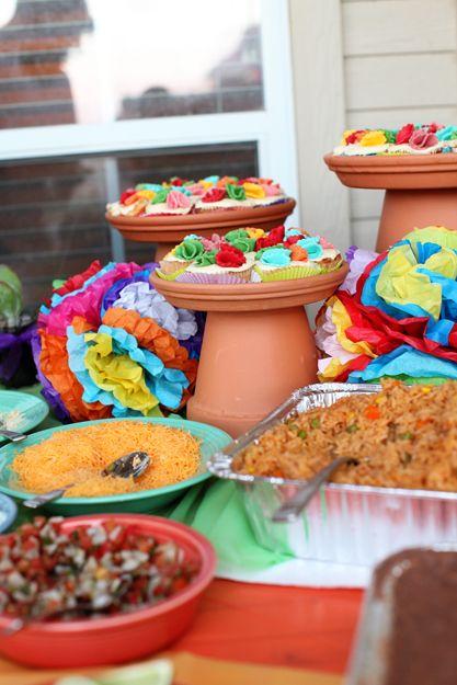 Fiesta pedestals:   clay pots: