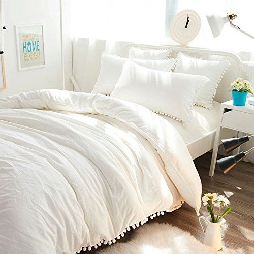 Amazon Com Meaning4 Pom Poms Fringe Cotton Duvet Cover Off White Queen Size 90 X 90 Home Kitchen Ivory Duvet Cover Duvet Covers Comforter Cover
