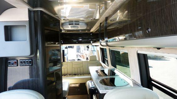 Interior of 2013 Airstream Interstate model with Onyx (dark) Interior Decor