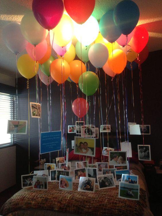 Decoraci n con globos y fotografias hermosa sorpresa for Habitacion completa para adultos barata