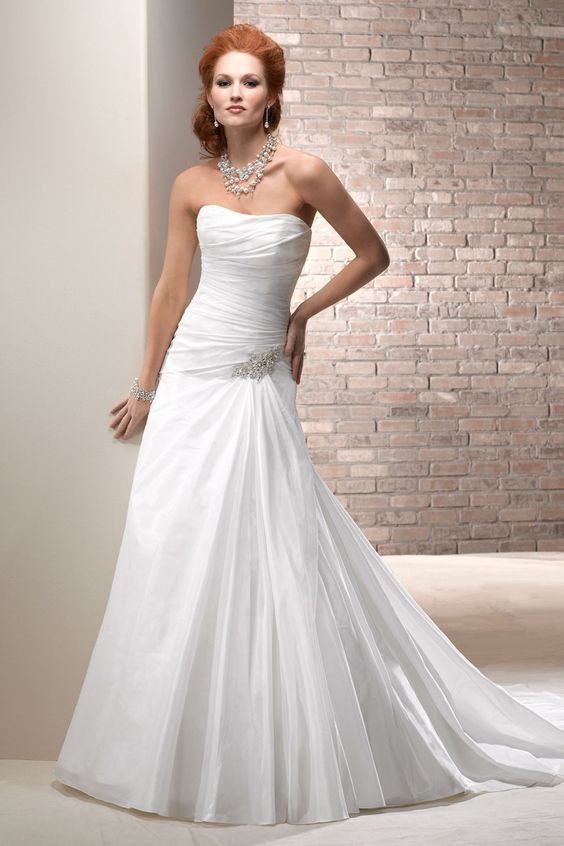 2013 Wedding Dresses Mermaid Strapless Court Train Taffeta Lace Up