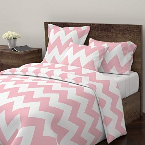 Roostery Chevron Duvet Cover Zigzags Misstiina Pink Light Pink Baby Pink By Misstiina 100 Pink Duvet Cover Matching Bedding And Curtains Chevron Duvet Covers