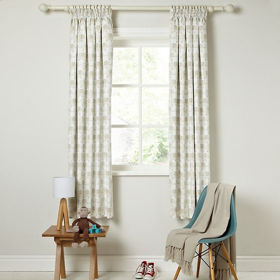Buy Little Home At John Lewis Elephant Pencil Pleat Blackout Lined Curtains W X Drop