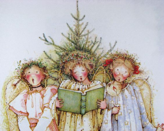 Young Christmas angels in a likeable print: