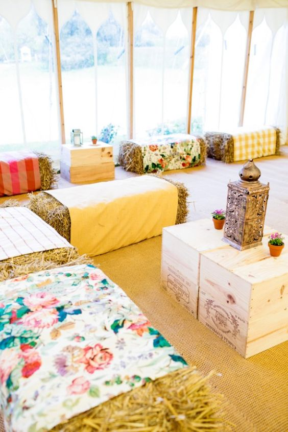 party seating - bales of hay wrapped with fabric