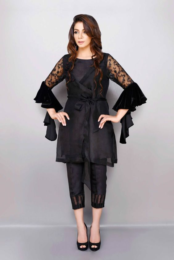 Stitching Styles Of Pakistani Dresses Black Waist belt Peplum