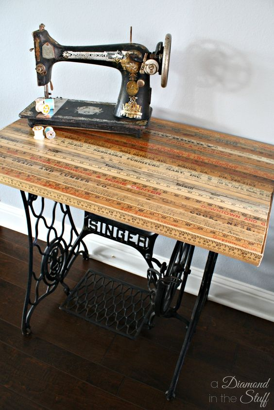 Yard Stick Sewing Table Makeover